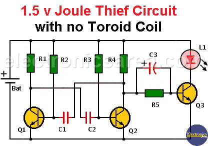 1.5 v Joule Thief Circuit with no Toroid Coil