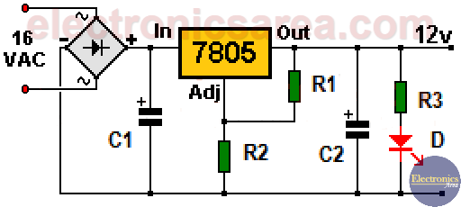 12 volt power supply using 7805 regulator