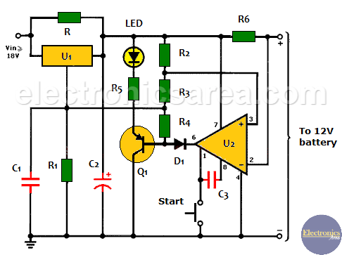 Auto Turn-off 12V Battery Chargercircuit (LM301A op-amp, LM350 voltage regulator)