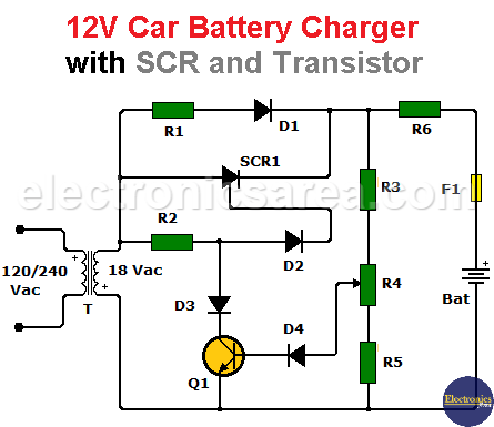 12V Car battery charger with SCR and transistor
