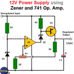 12V Power Supply using Zener and 741 Op. Amp.