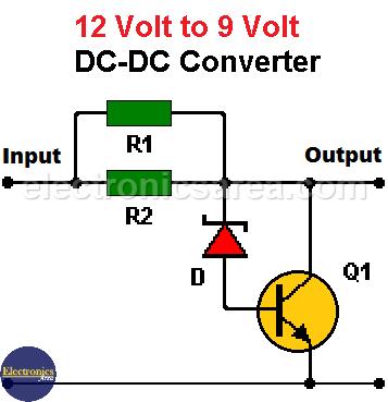 12V to 9V DC Converter Circuit