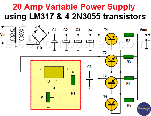 20 Amp Variable Power Supply using LM317 and 4 2N3055 transistors