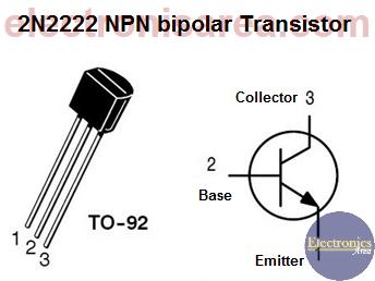 2N2222 NPN bipolar transistor Pinout