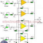 4-channel audio mixer using LM3900 IC