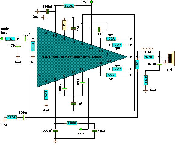 400 Watts Stereo Amplifier Circuit using STK4050 (200w + 200w)