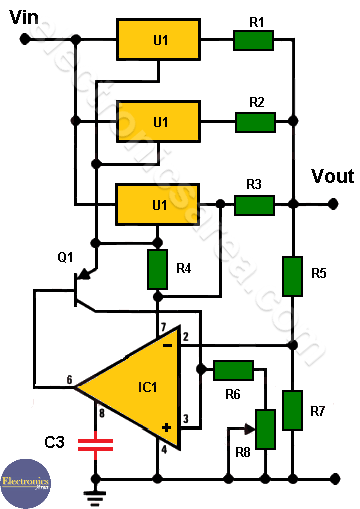 4 Amp Variable Power Supply with 3 LM317s