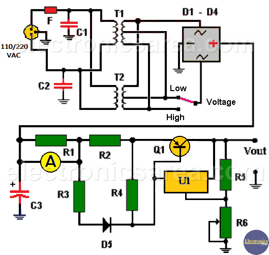 4A Variable Power Supply using LM317 & Transistor