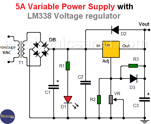 5A Variable Power Supply with LM338 Voltage Regulator
