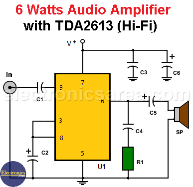 6 Watts Audio Amplifier with TDA2613 (Hi-Fi)