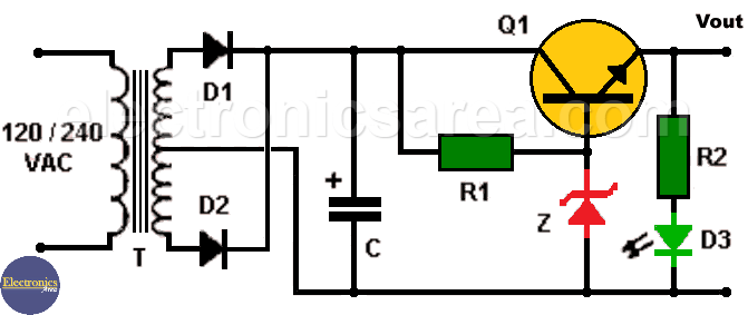 9VDC Power Supply using Zener and Transistor