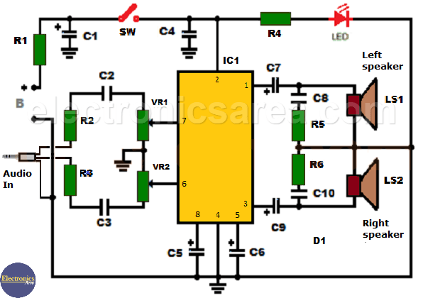 TDA2822M 2 watt audio amplifier circuit