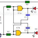 Astable multivibrator using NAND gates