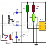 Automatic night light using 555 and relay