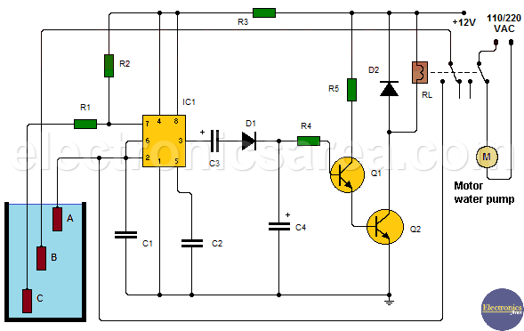 Automatic Water Level Controller using 555, transistor ...