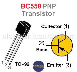 BC558 PNP Transistor pinout
