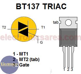 BT137 TRIAC PinOut