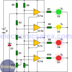Car battery monitor circuit using 4 LEDs