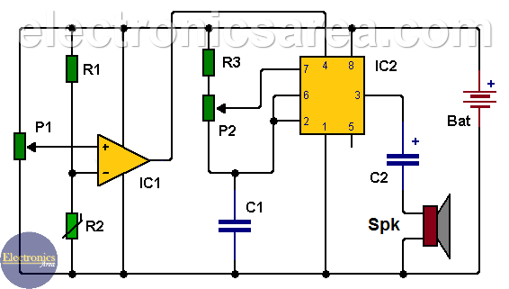 Car Temperature Alarm using 741 & 555 ICs
