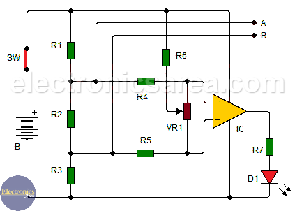 Continuity tester using 741 Op Amp