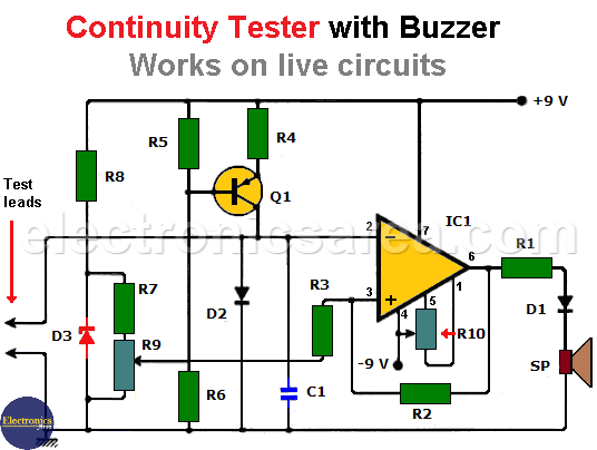 Continuity Tester with Buzzer - Works on live circuits