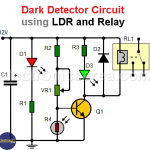 Dark detector circuit using LDR and relay