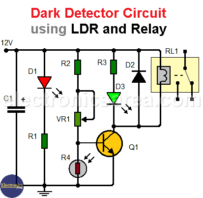 Dark Detector Circuit usind LDR and Relay