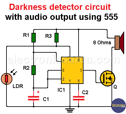 Darkness detector circuit with audio output using 555