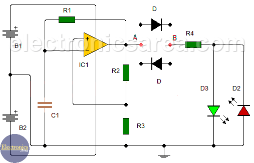 Diode tester circuit using 741 IC