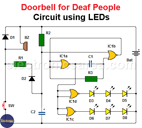 Doorbell for Deaf People Circuit using LEDs