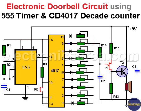 Electronic Doorbell Circuit using a 555 and CD4017