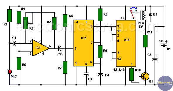 Electronic sound control Circuit (applause)