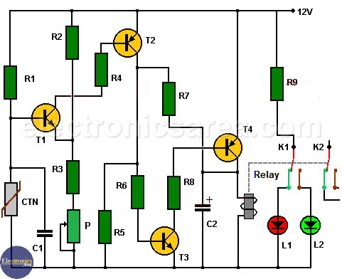 Electronic Thermostat Circuit using transistors