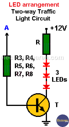 Electronic two-way Traffic Light LEDs