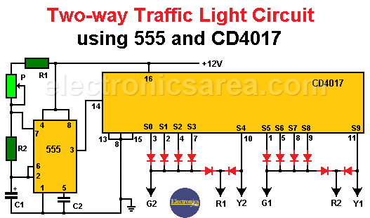 Two-way traffic light Circuit using 555 and CD4017