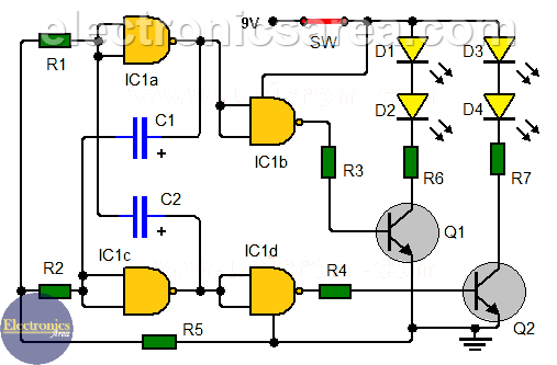Flashing LEDs circuit for pedestrians using NAND gates