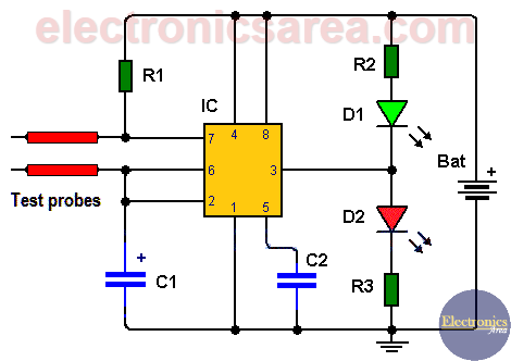 Humidity sensor circuit using the 555 timer