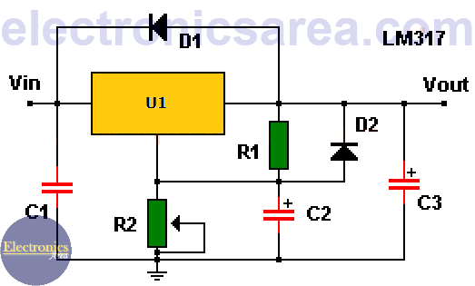 Improved LM317 variable voltage regulator circuit diagram
