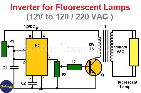 Inverter for Fluorescent lamps using 555