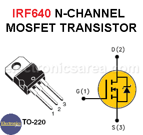 IRF640 N-Channel MOSFET Pin Out