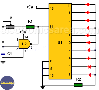 LED Chaser / LED Sequencer using 4017 Decade Counter