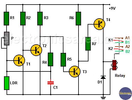 Light detector circuit using transistors and relay