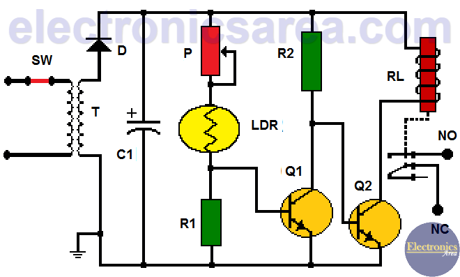 Light Operated Relay Circuit using LDR