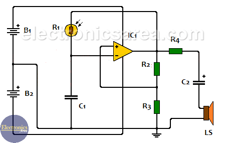 Light sensitive sound generator circuit