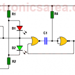 Logic probe circuit using CD4001 IC
