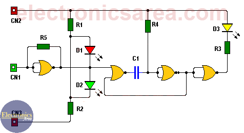 Logic probe circuit using CD4001 (NOR gates)