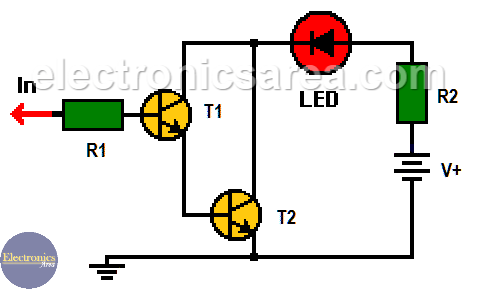 Logic Probe using two Transistors
