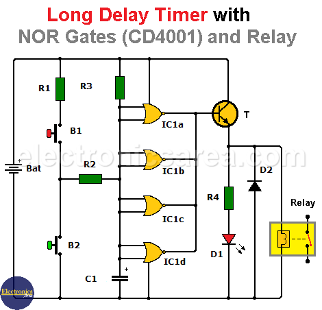 Long Duration Timer / Long Delay Timer with CD 4001 (NOR) and Relay