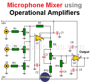 Microphone Mixer using operational amplifiers