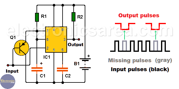 Missing Pulse Detector circuit using the 555 timer